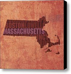 Massachusetts Word Art State Map On Canvas By Design Turnpike