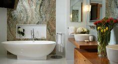 Interior design bathroom contemporary with recessed wall niche mirrored medicine cabinet white floor tile