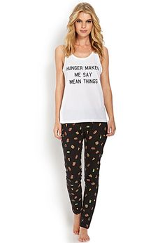 If this isn't me...I don't know what is!!! Hunger Makes Me Say Mean Things PJ Set | FOREVER21 - 2000070999