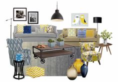 Olioboard Moodboard with 2 couched in neutrals and some yellow and blue to create a fresh and cosy look.