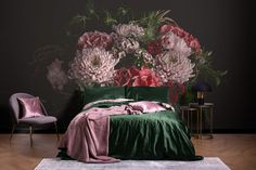 From the Midnight Blooms collection _______________________________ Girl Room, Girls Bedroom, Papier Paint, Floral Bedroom Decor, Thanksgiving Wallpaper, Cozy Bed, Decoration, Color Trends, Decor Styles