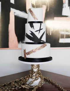 mid century metals | black, white & gold cake | by  Sugar Bee Sweets