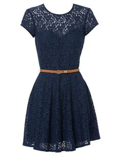 Ladakh - Lace Skater Dress in Navy - $50. I like this but think it would be waaaay too short!