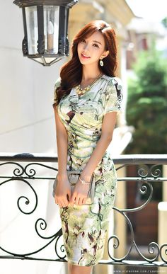 Korean Women`s Fashion Shopping Mall, Styleonme. Korean Beauty, Asian Beauty, Asian Woman, Asian Girl, Cinderella Outfit, Asian Street Style, Shirred Dress, Asian Hotties, Beautiful Asian Women