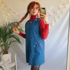 ae291e9b48431 Omg the sweetest blue denim vintage mini 90 s pinafore With - Depop Luna  Lovegood