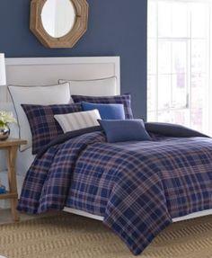 nautica reade plaid full/queen comforter set | grey fox