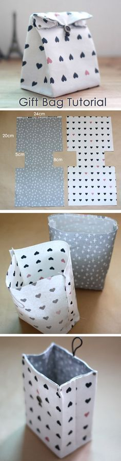 Traditional-style Fabric Gift Bags Instructions DIY step-by-step tutorial. / via
