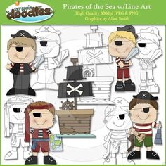 Pirates of the Sea Clip Art Download with Line Art