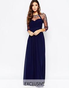 Little Mistress Mesh Sleeve Embellished Maxi Dress