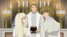 Spoiler Alert: In the anime, the same unnamed priest who taught Cosette and Gavroche how to read makes a reappearance to officiate Cosette's wedding and teach children at a school funded by Jean Valjean. Les Miserables Anime, Cosette Les Miserables, Chapel Wedding, Wedding Ceremony, Jean Valjean, Anime Wedding, Sailor Moon Manga, Princess Zelda, Disney Princess