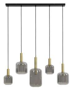 Light & Living Hanglamp Lekar 5-Lamps, antiek brons+smoke glas, 110cm  Eigenschappen: * Merk: Light & Living * Materiaal: Glas * Type fitting: E27 * Breedte: 110 cm * Diepte: 22 cm * Hoogte: 32 cm Pendant Lamp, Ceiling Lights, Lighting, Home Decor, Products, Corning Glass, Decoration Home, Room Decor, Swag Light