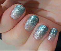 2014 Halloween Disney Frozen Elsa Nail - Ombre Glitter Designs
