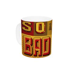 "Roberlan ""So Bad It's Beautiful"" Red Orange Ceramic Coffee Mug"