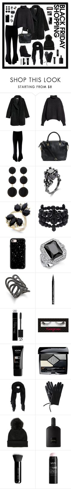 """Black Friday In All Black"" by fireglam ❤ liked on Polyvore featuring H&M, Boohoo, Cara, INC International Concepts, Simply Vera, Casetify, Palm Beach Jewelry, Blanc Noir, NYX and Christian Dior"