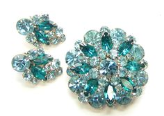La Roco Blue Rhinestone Brooch and Earring Set by SassyBeauties, $55.00