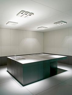 Elegant modern interior with a large kitchen island _ i'm so not aware this is a kitchen the first time i glanced on it!