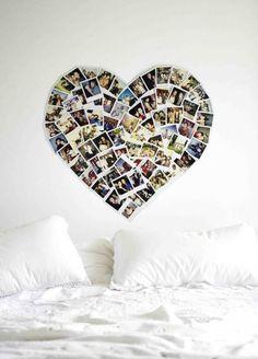 Mijn vergaarbak van leuke ideeën en dingen waar ik later misschien wel wat mee wil. - Polaroids in hartvorm boven het bed. Wow wat leuk bedacht zeg om je polaroids zo op te hangen. Geeft een hele mooie romantische sfeer aan de slaapkamer.