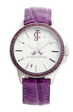 Juicy Couture 'Jet Setter' Round Leather Strap Watch | Nordstrom