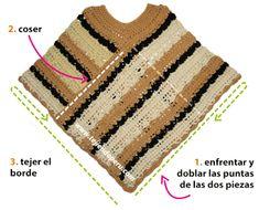 Cómo tejer un poncho de dos rectángulos a crochet Crochet Cape, Crochet Cardigan Pattern, Crochet Blouse, Knitted Poncho, Love Crochet, Crochet Shawl, Easy Crochet, Crochet Stitches, Knit Crochet