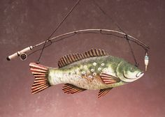 Fish and Pole Wall Plaque