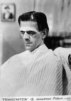 Boris Karloff in partial makeup for Frankenstein 1931