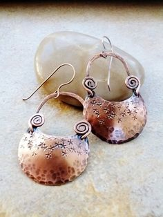Hand made copper Hoop Earrings, Hammered, Stamped, Half Moon Shape | stonemountainjewelry - Jewelry on ArtFire
