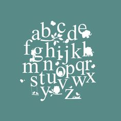 These playful Alphabet wall decals will bring a very cute scene to your wall. An adorable set of ABCs along with darling little animals are the