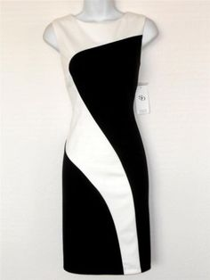 Sandra Darren Dress Size 8 Black Ivory Swirl Colorblock Knit Sheath NWT