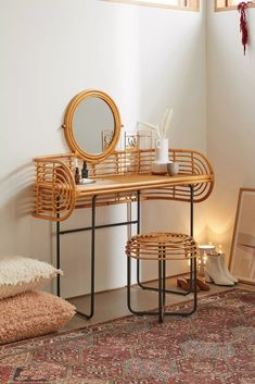 Stool Cushion, Vanity Stool, Vanity Tables, Modern Vanity Table, Vanity Area, Apartment Furniture, My New Room, Custom Furniture, Rattan Furniture