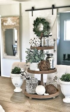 Tiered Tray Decor Ideas: Farmhouse Style I am still in love with Farmhouse Decor and plan to decorate the majority of my house in that fashion. One item that I can style farmhouse is my Tiered Tray and then restyle again and again Cotton … Farmhouse Side Table, Country Farmhouse Decor, Rustic Decor, Country Interior, Modern Farmhouse, Farmhouse Ideas, Farmhouse Style Decorating, Country Kitchen, Kitchen Island Decor