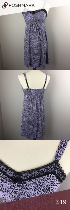 """Soma Nightgown Size Medium Lavender Black So soft!  In excellent shape! Comes from a smoke-free and pet-free home.   93% Rayon, 7% Spandex. `Machine wash cold, tumble dry low.  Approximate measurements (laying flat): armpit to armpit: 14"""" length: 33"""" Soma Intimates & Sleepwear Chemises & Slips"""