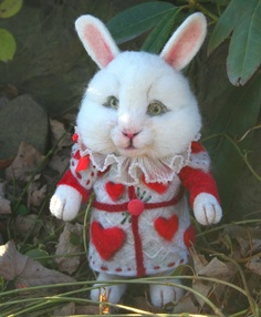Wonderland The White Rabbit Needle felted Storybook OOAK by SteviT