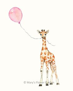 Giraffe With Pink Balloon Nursery Print- 8 X 10- girls room