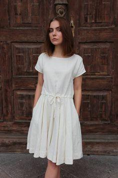 Abigail dress, ivory dress, handmade linen dress,open back dress. – Linen Dresses For Women White Linen Dresses, Ivory Dresses, Women's Dresses, Cotton Dresses, Feminine Mode, Cute Summer Dresses, Summer Sundresses, Open Back Dresses, Skirts With Pockets
