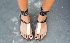 We love Grasie Mercedes' choice of Black Dottie chiffon straps with the rectangle gold accessories! If you want to turn heads like she's sure to do with her Ssekos, visit http://www.grasiemercedes.com/outfit/seeko-sandals/ to see the rest of her look!