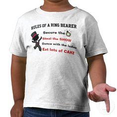 Rules of a Ring Bearer T-Shirt  #ringbearer #weddingparty #bride #boysfashion #kids #rehearsaldinner