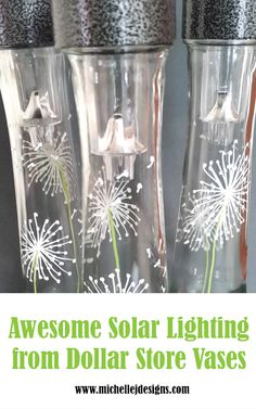 Dollar Store Vases Turned Into Awesome Outdoor Lighting - The tops of the solar lights fit perfectly into the Dollar Store Vases and make awesome outdoor lig - Diy Solar, Solar Light Crafts, Solar Lights, Fairy Lights, Backyard Lighting, Outdoor Lighting, Lighting Ideas, Landscape Lighting, Fresco