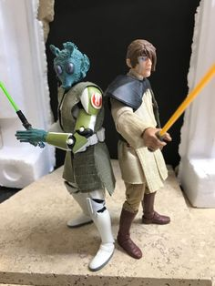 Master Yeeb Naloon and Jedi Kight Calnex Jord (Star Wars Clone Wars) Custom Action Figure [Teacher and student]