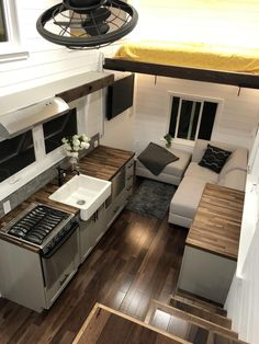 This 3 bedroom tiny house offers modern appliances, luxurious sleeping options, and a separate bathroom. Rv Makeover, Tiny House Cabin, Small House Design, House Layouts, Tiny Homes, Room Decor, Sleep, The Incredibles, Patio