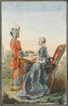 Madame de Lismore from Ireland and her servant Aza, c.1760's by Louis Carrogis Carmontelle (1717-1806) (Chantilly)