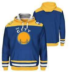Golden State Warriors Majestic Hardwood Classics 'The City' Double-Double Pullover Hoodie - Royal