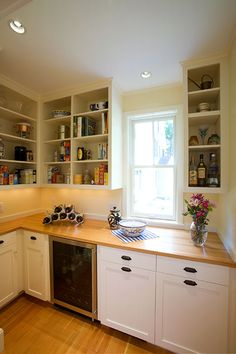 Concord MA White Flat Panel Full Overlay Custom Pantry Cabinetry With Open  Shelving And Wood Countertop