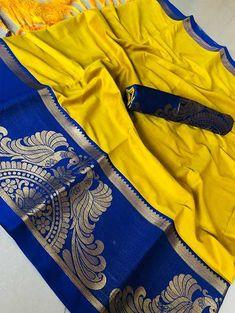 Look stunning in this Yellow Color Beautiful Weaving Cotton Silk Saree. This saree can be teamed with matching sandals and a clutch. Kota Silk Saree, Soft Silk Sarees, Silk Sarees With Price, Kanchipuram Saree, Latest Sarees, Traditional Sarees, Saree Styles, Saree Collection, Indian Sarees
