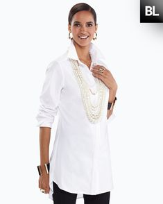 White blouse - a little longer torso; Cool Outfits, Fashion Outfits, Fashion Edgy, White Shirts, White Blouses, Over 50 Womens Fashion, Long Sleeve Tunic, Clothes For Women, My Style