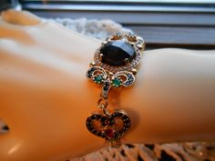 Vintage Art Deco 3.50ctw Black Onyx, Ruby, Emerald & White Sapphire Rose Gold Gilding/925 Sterling Silver Bracelet Adjustable 5-7.5 IN 19.4g