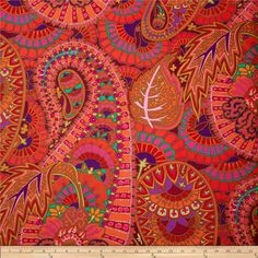 Buy Kaffe Fassett Belle Epoch cotton laminate fabric in red. Shop our large selection of quilting & sewing & home decor fabrics. Paisley Fabric, Red Fabric, Mood Fabrics, Upholstery Fabrics, Chair Upholstery, Belle Epoch, Creative Textiles, Paper Beads, Home Decor Fabric