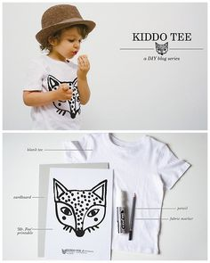 DIY Fabric Marker Fox Tee Shirt Tutorial and Template from oana befort here. Also check out the stenciled bear I posted here. Fabric Yarn, Fabric Decor, Diy Your Clothes, T Shirt Stencils, Kids Shirts, Tee Shirts, Shirt Tutorial, Fabric Markers, Camping Crafts