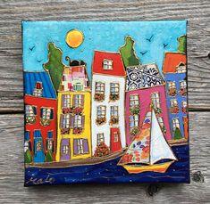 Peinture originale acrylique - Le départ du voilier fleuri - 6 X 6 - par Isabelle Malo de la boutique isamalo sur Etsy