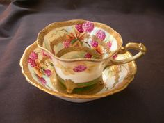 Nippon Maple Raspberry with gold trimTea Cup and Bowl Saucer