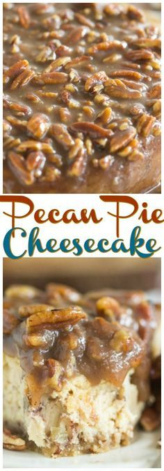 A pecan cheesecake, over a pecan-shortbread crust, with a quick pecan pie sauce on top!